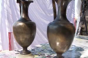 Etruscan style 1850s bronze vases