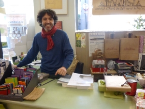 Alan, owner of Straffi bookshop, Viterbo