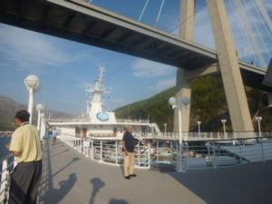 Dubrovnik docked under bridge