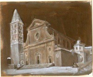 Duomo of Viterbo,painting by Justin Bradshaw